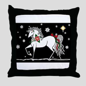 Silent Night Christmas Horse Throw Pillow