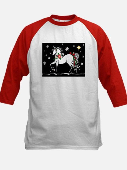 Silent Night Christmas Horse Kids Baseball Jersey