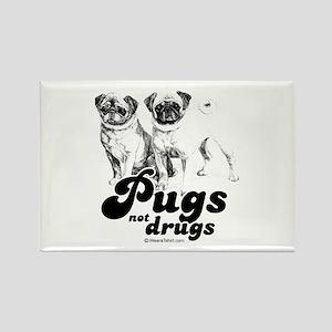 Pugs not drugs - Rectangle Magnet