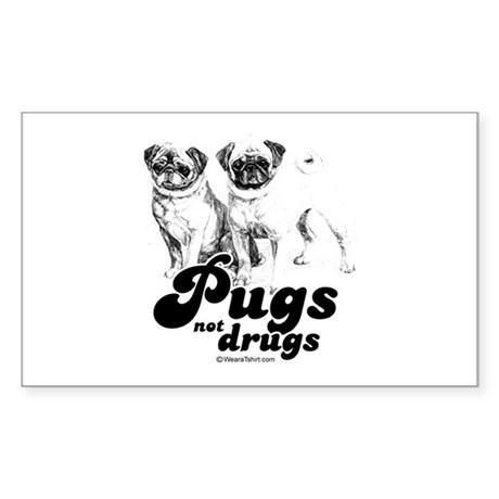 Pugs not drugs - Rectangle Sticker