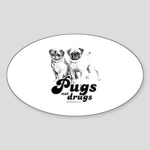 Pugs not drugs - Oval Sticker
