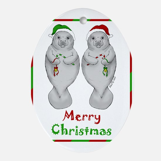 Merry Manatee Oval Ornament