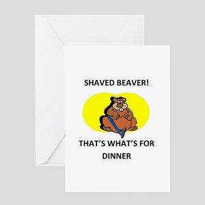 SHAVED BEAVER Greeting Cards