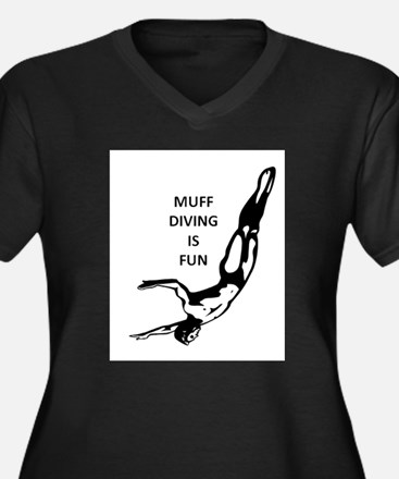 Muff Diving is Fun Women's Plus Size V-Neck Dark T
