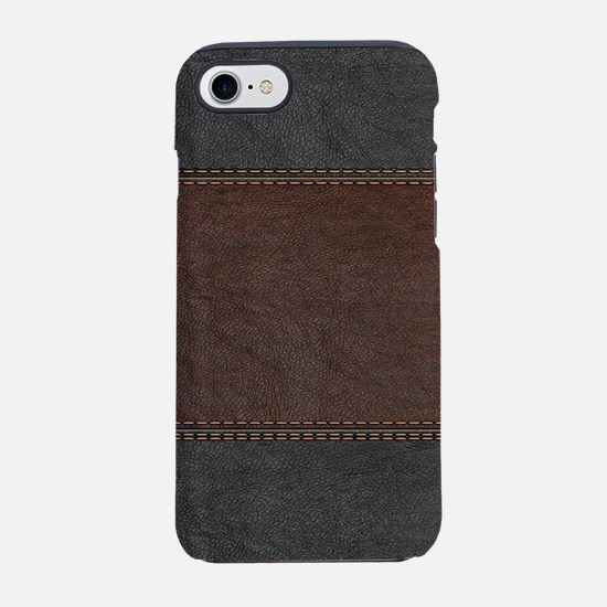 Brow And Black Vintage Leather iPhone 7 Tough Case