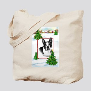 Boston Terrier christmas Tote Bag