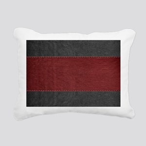Red & Black Leather Rectangular Canvas Pillow