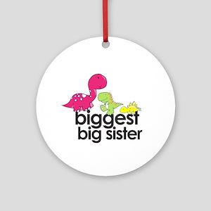 biggest big sister dinosaur shirt Ornament (Round)