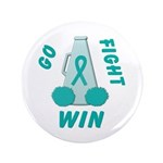 """Teal GO FIGHT WIN 3.5"""" Button (100 pack)"""