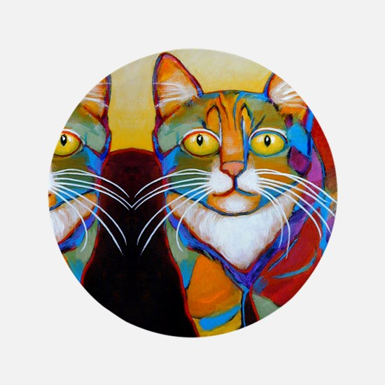 """Cat-of-Many-Colors 3.5"""" Button"""