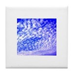 Peaceful Blue Sky and Clouds Tile Coaster / Trivet