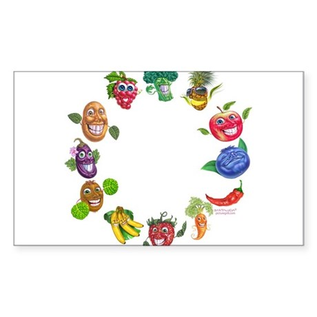 vegetables and fruits Rectangle Sticker