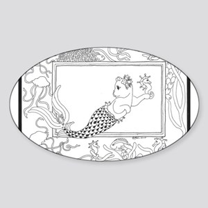 Mercat with seahorse and jell Oval Sticker