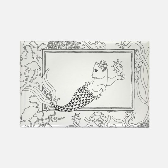 Mercat with seahorse and jell Rectangle Magnet