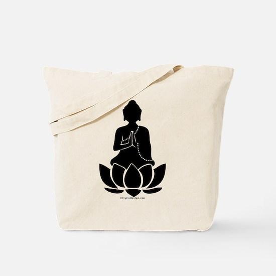 Praying Buddha (Black) Tote Bag