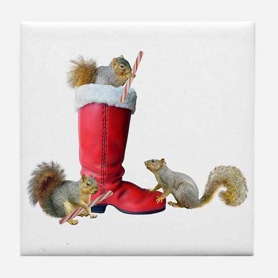 Squirrels in Santa's Boot Tile Coaster