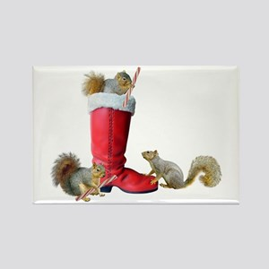 Squirrels in Santa's Boot Rectangle Magnet