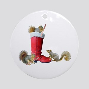 Squirrels in Santa's Boot Ornament (Round)
