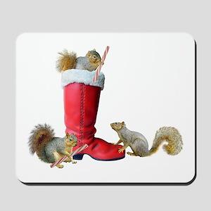 Squirrels in Santa's Boot Mousepad
