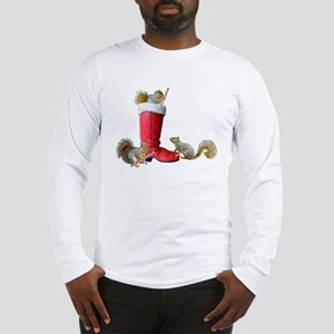 Squirrels in Santa's Boot Long Sleeve T-Shirt