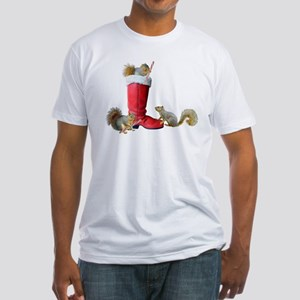 Squirrels in Santa's Boot Fitted T-Shirt