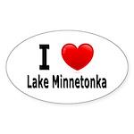 I Love Lake Minnetonka Oval Sticker (50 pk)