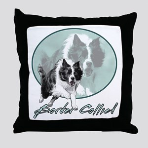 Border Collie Drive Throw Pillow