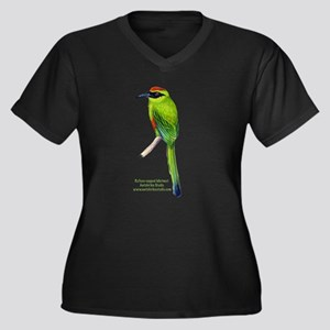 Motmot Women's Plus Size V-Neck Dark T-Shirt