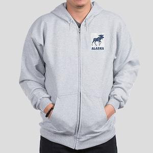 Retro Alaska Moose Zip Hoodie