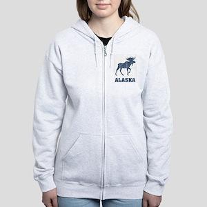 Retro Alaska Moose Women's Zip Hoodie