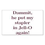 Stapler in Jello Rectangle Sticker