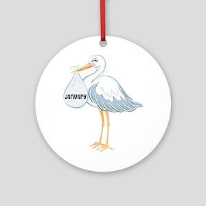 January Stork Ornament (Round)