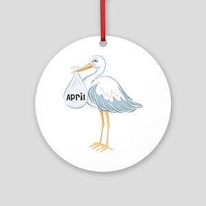 April Stork Ornament (Round)