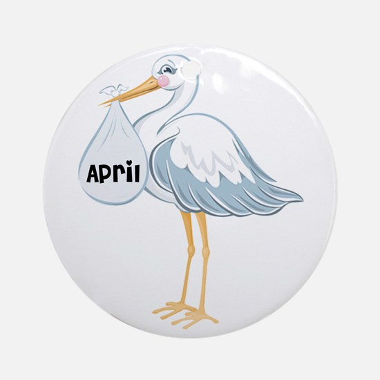 April Stork Ornament (Round)
