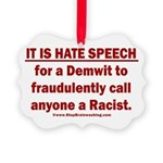 Racist Hate Speech Picture Ornament