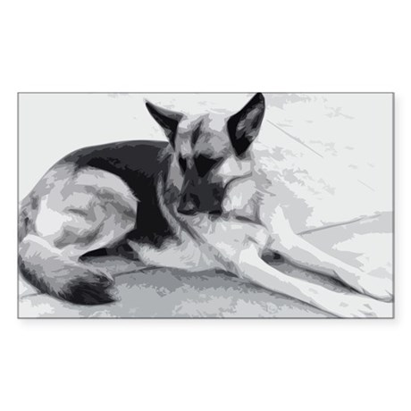 German Shepherd Sticker (Rectangle)