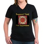 Support Your Fire Department Women's V-Neck Dark T