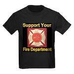 Support Your Fire Department Kids Dark T-Shirt