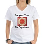 Support Your Fire Department Women's V-Neck T-Shir