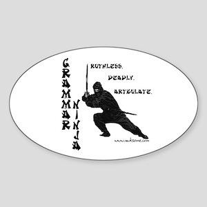 """""""Grammar Ninja"""" Oval Sticker"""