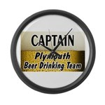Plymouth Beer Drinking Team Large Wall Clock