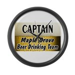 Maple Grove Beer Drinking Team Large Wall Clock