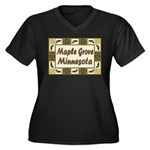 Maple Grove Loon Women's Plus Size V-Neck Dark T-S