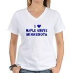 I Love Maple Grove Winter Women's V-Neck T-Shirt