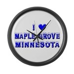 I Love Maple Grove Winter Large Wall Clock