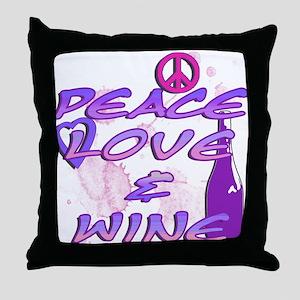 Peace, Love, & Wine Throw Pillow