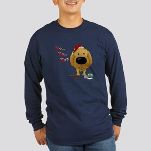 Golden Retriever Santa Long Sleeve Dark T-Shirt