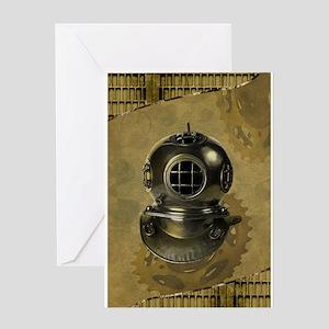 Deep sea diver greeting cards cafepress steampunk diving helmet antique greeting cards m4hsunfo