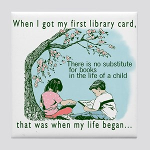 Life begins with reading Tile Coaster