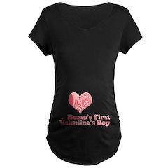 Bump's First Valentine's Day Maternity Tee (Dark)